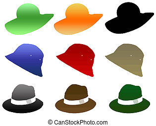 man and woman hat - colored vector illustration with man and...