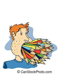 pencil mouth - a persons mouth is full of different coloured...