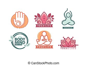 Yoga monograms and logos set. Abstract yoga design elements...