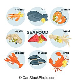 Seafood set crab, lobster, fish and shrimp, squid salmon, prawn, mussel oyster.