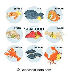 Seafood set crab, lobster, fish and shrimp, squid salmon,...