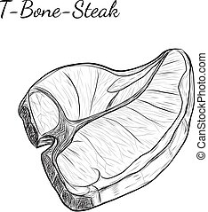 Hand drawn sketch T-bone-steak. Isolated vector food...