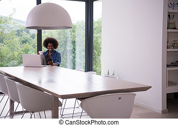 African American woman in the living room