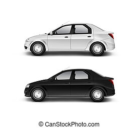 Blank black and white car design mockup, isolated, side...
