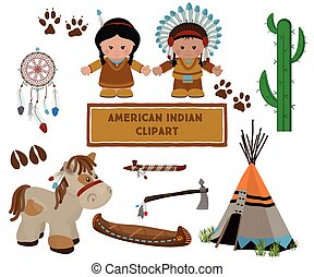 Indian symbols set, cartoon characters of American Indians -...