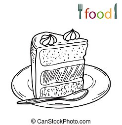piece of cake on a plate - vector sketch of piece of cake on...