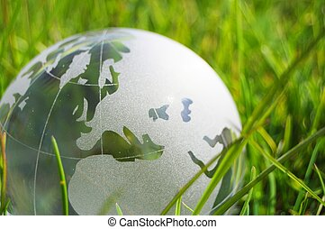 glass globe or earth in grass - glass globe or earth in...