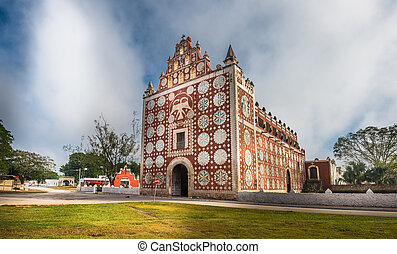 Uayma church, unique colonial architecture in Yucatan,...