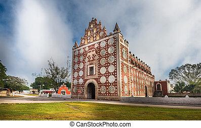 Uayma church, unique colonial architecture in Yucatan,...