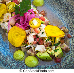 Delicious ceviche mixto mexican style
