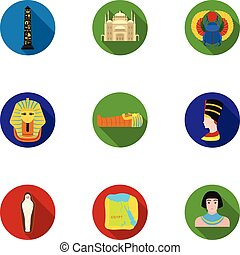 Ancient Egypt set icons in flat style. Big collection of...