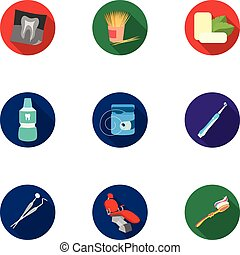 Dental care set icons in flat style. Big collection of dental care vector symbol stock illustration