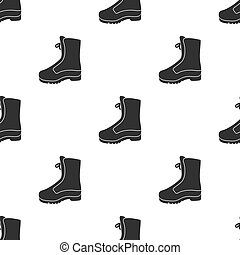 Combat boot icon in black style isolated on white background. Hunting pattern stock vector illustration.