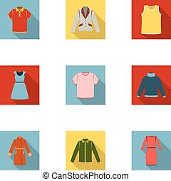 Clothes set icons in flat style. Big collection of clothes...