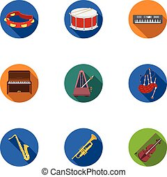 Musical instruments set icons in flat style. Big collection...