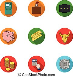 Money and finance set icons in flat style. Big collection of money and finance vector symbol stock illustration