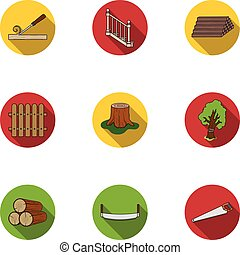 Sawmil and timber set icons in flat style. Big collection of...