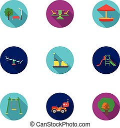 Play garden set icons in flat style. Big collection of play...