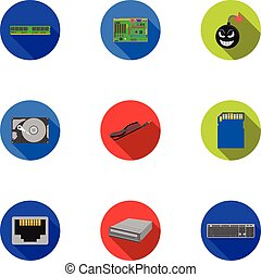 Personal computer set icons in flat style. Big collection of...