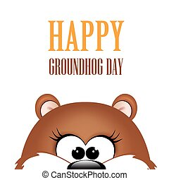 Groundhog day. Marmot on white background. Vector...