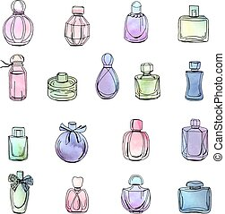 Collection with different bottles of woman perfume. Objects isolated on white. Watercolor effect, vector illustration.