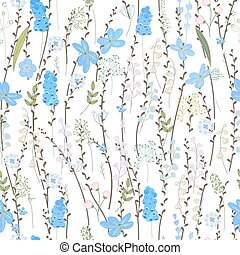 Seamless spring pattern with stylized cute blue flowers....