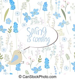 Floral greeting card with phrase Spring is coming. Template...