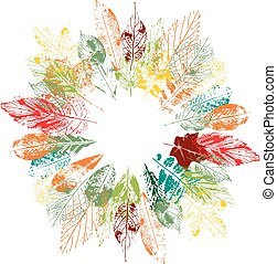 Round floral autumn wreath made of stamp leaves. Orange, red,green and yellow color. Object on white background.