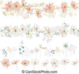 Seamless horizontal borders with flowers: orange asters and white daisies.