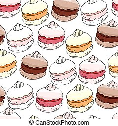Seamless pattern with sweet merengue. Endless texture. White...