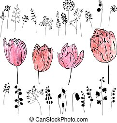Set with pink and red tulips isolated on white. Watercolor...