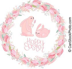 Easter round wreath with rabbits, tulips, herbs and phrase...