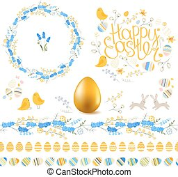 Phrase Happy Easter - Spring set. Phrase Happy Easter....