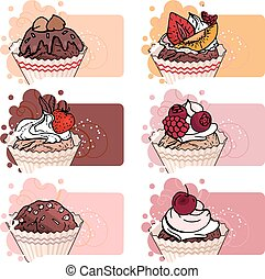 Set with different banners with sweet capcakes. For...