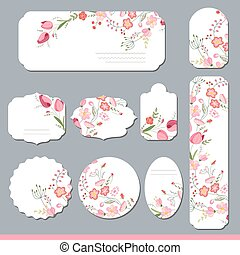 Floral spring templates with cute bunches of different...