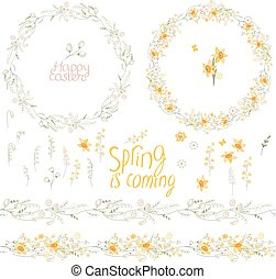 Spring set. Phrase Happy Easter. Painted eggs, spring flowers, chickens and rabbits. Objects for your design, festive greeting cards,  announcements, posters.