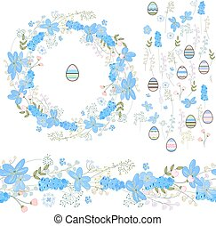 Easter set with eggs and blue primroses - muscari and...