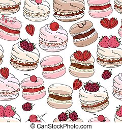 Seamless pattern with sweet desserts. Merengue, macaroons...