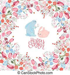 Greeting easter card with rabbits, tulips, herbs and phrase...