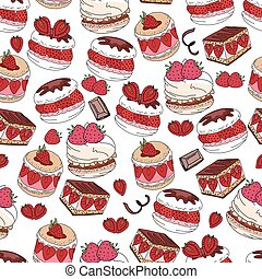 Seamless pattern with sweet desserts. Pastry, fruits,...