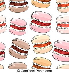 Seamless pattern with sweet merengue. Endless texture. White background, pink,beige,yellow,soft colors.