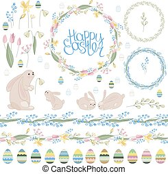 Easter set with spring tulips, plants,daffodils,eggs,rabbits...