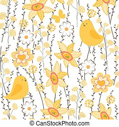 Seamless spring pattern with stylized cute yellow chickens.  Endless texture for your design, greeting cards, announcements, posters.