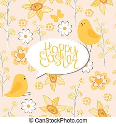 Floral greeting card with phrase Spring is coming