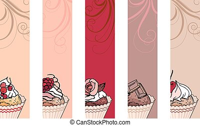 Set with different vertical banners with sweet capcakes. For...