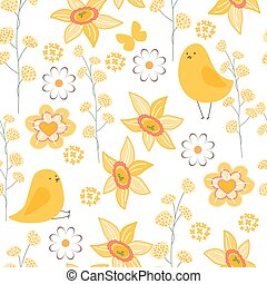 Seamless pattern with stylized cute yellow daffodils....