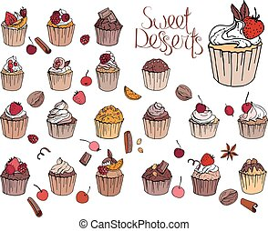 Set with different cupcakes with fruits and chocolate....