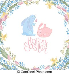 Greeting easter card with rabbits, flowers, herbs and phrase...