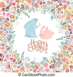 Greeting easter card with rabbits, tulips, roses,egg, herbs...