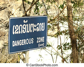 dangerous zone lao and english language area waterfall for traveler